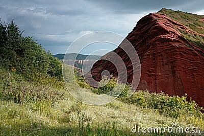 Jeti Oguz Kyrgyz sandstone cliffs Seven bulls
