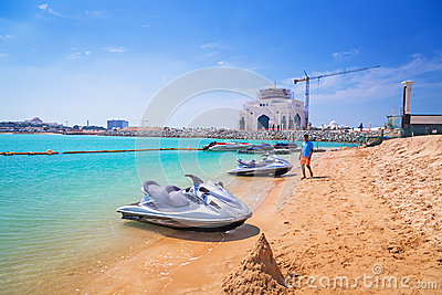 Jetski for rent on the beach in Abu Dhabi Editorial Stock Image