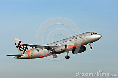Jetstar Airbus A320 jet airliner in the air Editorial Photography
