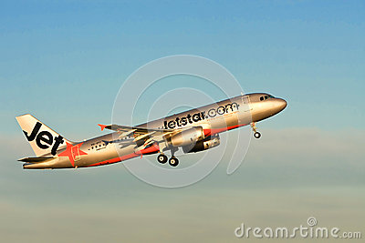 Jetstar Airbus A320 jet airliner in the air Editorial Stock Photo