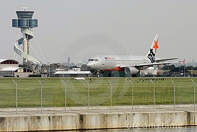 Jetstar Airbus A320 ready for takeoff. Editorial Image