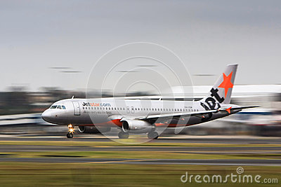 Jetstar Airlines Airbis A320 in motion Editorial Photo