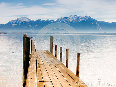 Jetty on lake chiemsee