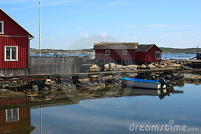 Jetty with Small Boat in Sweden