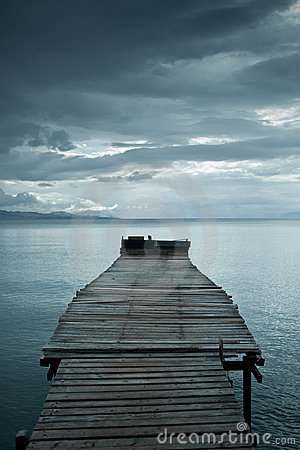 Jetty before storm