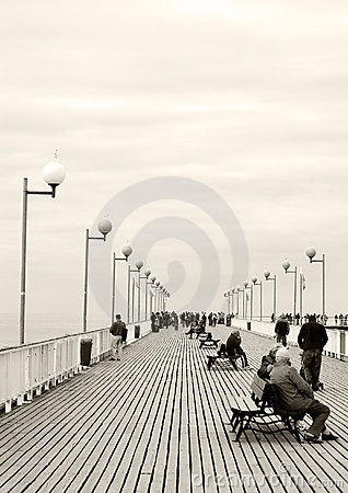 Jetty walk, sepia tone.