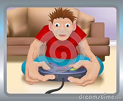 Jeu sur la console de jeux