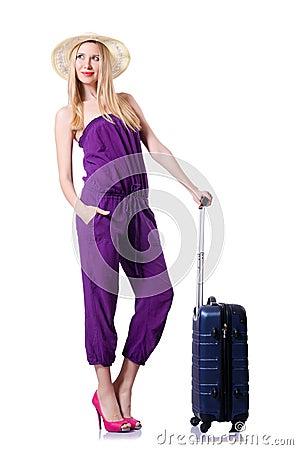 Jeune femme avec la valise