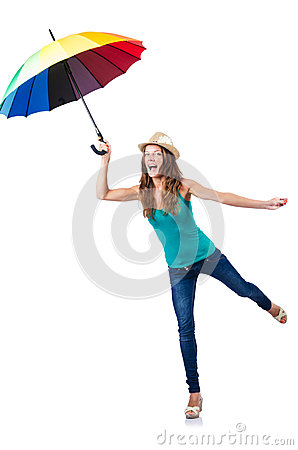 Jeune femme avec le parapluie