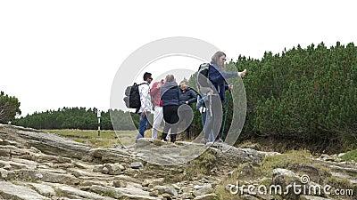 Jeune femme d'étudiant en voyage de montagne avec ses amis à l'aide du smartphone en nature vérifiant aucun signal de réseau - banque de vidéos