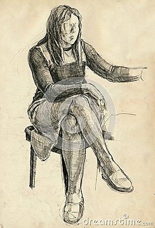 Jeune femme dans l atelier