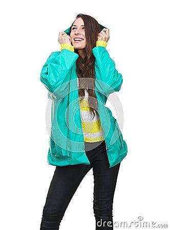 jeune femme tenant le capot de la veste de pluie photo stock image 42357038. Black Bedroom Furniture Sets. Home Design Ideas