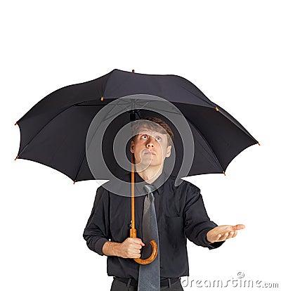 jeune homme avec le grand parapluie noir photo stock image 15417180. Black Bedroom Furniture Sets. Home Design Ideas