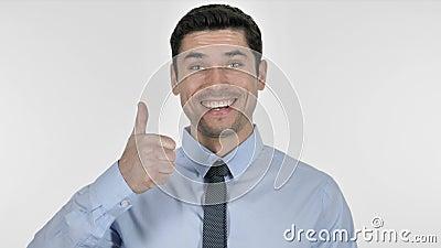 Jeune homme d'affaires heureux Gesturing Thumbs Up clips vidéos