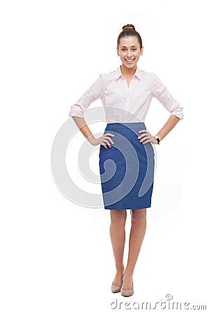 Jeune position de femme d affaires