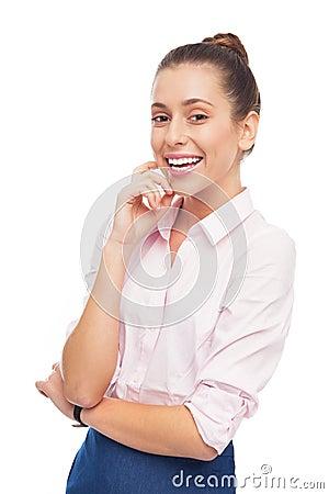 Jeune sourire de femme d affaires