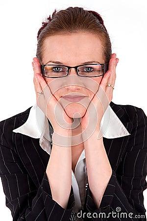 Jeune verticale de femme d affaires