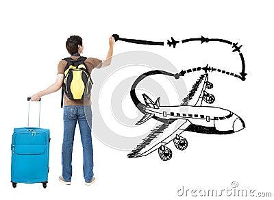 Jeune avion de dessin de voyageur - Voyageur dessin ...