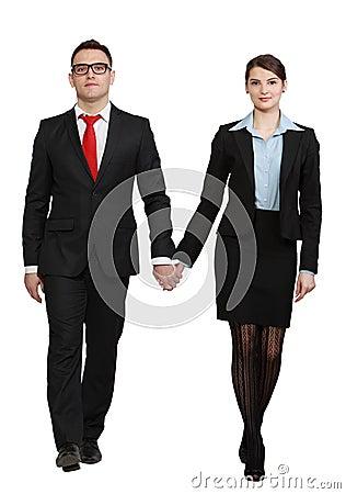 Jeunes couples d affaires