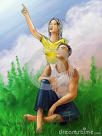 Jeunes couples des vacances