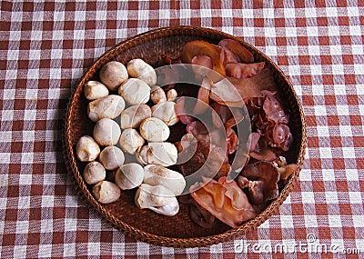 Jew s Ear Mushroom and straw mushrooms