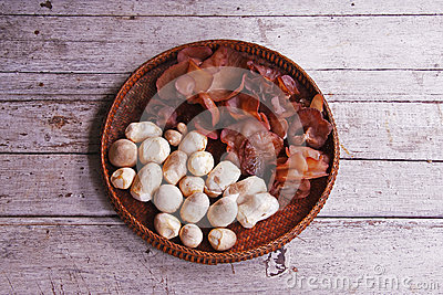 Jew s Ear Mushroom and straw mushrooms in the threshing basket