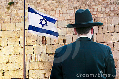 Jew on the wailing western wall background