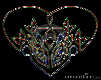 Jewel heart in celtic style