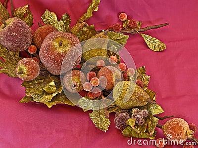 Jeweled Christmas fruit and greenery spray