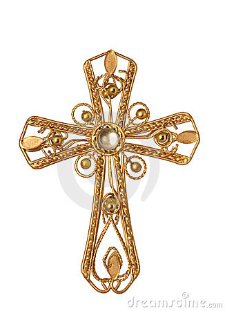 Jeweled gold cross