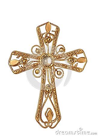 Jeweled Gold Cross Stock Photo Image 3855060