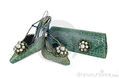Jeweled shoes and purse