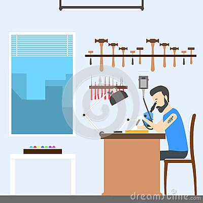 Jeweler at office. Vector Illustration