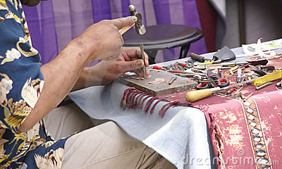 Jeweler works at his craft