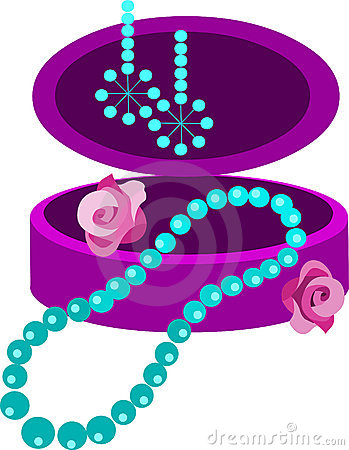 Jewelery box with earring, necklace and  flowers