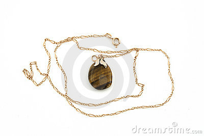 Jewelery gold chain with stone isolated