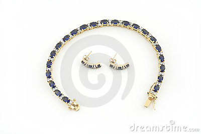 Jewelery gold necklace and earings isolated