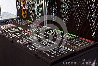 Jewellery on black backgrounds