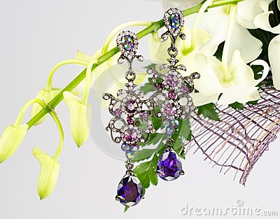 Jewellery on flowers