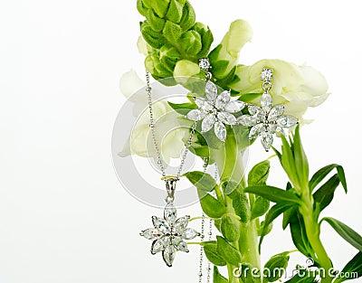 Jewellery on flowers
