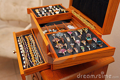 Jewelry box with rings and bracelets