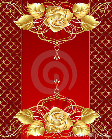 Free Jewelry Design With A Gold Rose Royalty Free Stock Image - 19636416