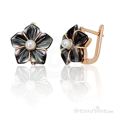 Free Jewelry Earrings With Nacre And Pearl Royalty Free Stock Photography - 24366347