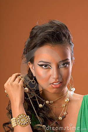 Jewelry on ethnic Asian woman