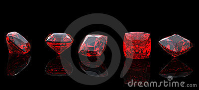 Jewelry gems shape of square. Ruby