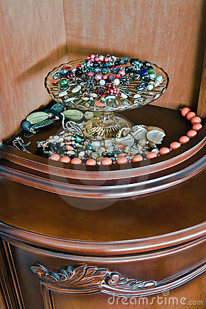 Jewelry on glass tray