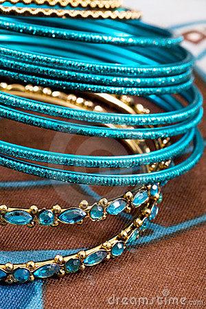 Jewelry, indian bracelet and stone in blue