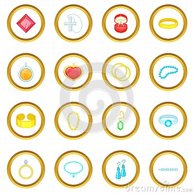 Jewelry items icons circle Vector Illustration