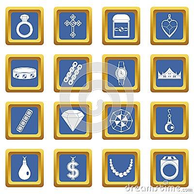 Free Jewelry Items Icons Set Blue Stock Photo - 122386770
