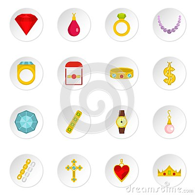 Jewelry items icons set in flat style Vector Illustration